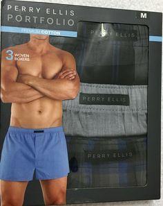 Medium 32-34 3 Pack Perry Ellis Portfolio 100/% Cotton Performance Boxer Briefs