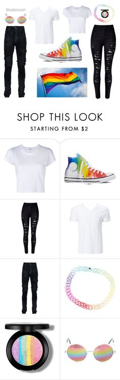 """pride"" by katielukesh on Polyvore featuring RE/DONE, Converse, WithChic, AMIRI, Cutler and Gross, set, rainbow and pride"