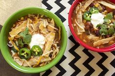 Skinny Crock Pot Tortilla Soup:  16 oz boneless, skinless chicken breasts 2 Tbsp minced garlic 1 cup onion, chopped 16 oz can reduced-sodium black beans, drained + rinsed 16 oz can kidney beans, drained + rinsed 8 oz can tomato paste 10 oz package of yellow corn, frozen 2 — 10 oz cans Ro*Tel® diced tomatoes with chilies 1 packet reduced-sodium taco seasoning 1 Tbsp chili powder 32 oz reduced-sodium chicken broth 20 unsalted corn tortilla chips