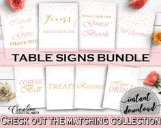 Table Signs Bridal Shower Table Signs Pink And Gold Bridal Shower Table Signs Bridal Shower Pink And Gold Table Signs Pink Gold - XZCNH #bridalshower #bride-to-be #bridetobe