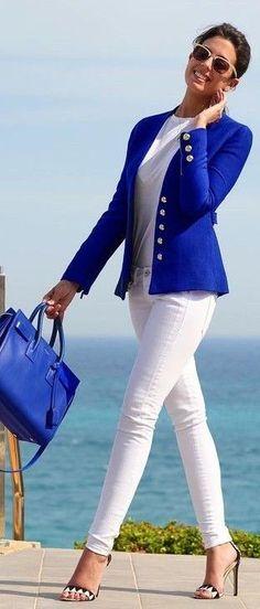 Cobalt Jacket White Jeans