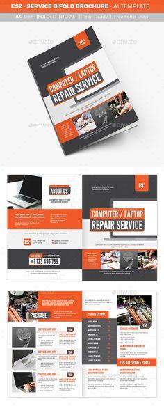 ES2 - Service Bifold Brochure Template Vector EPS, AI Illustrator. Download here: https://graphicriver.net/item/es2-service-bifold-brochure/17085404?ref=ksioks