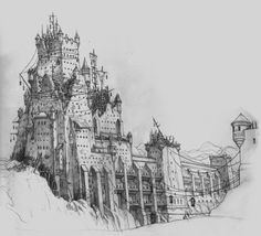 """""""prison fortress"""" concept art for kingdoms of amalur. Environment Concept, Environment Design, Medieval, Fantasy House, Layout, Concept Architecture, Living At Home, Environmental Art, Freelance Illustrator"""