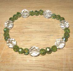 Peridot Stretchy Bracelet by BevmarDesigns on Etsy, $20.00