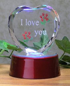 dca66694d3cb Amazon.com  I Love You Gift - Etched Glass Heart on LED Base - LED Light up  Heart - Valentine s Day Decoration - Sweetheart