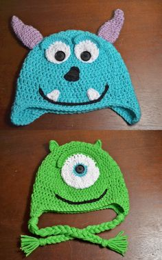 Sully & Mike, Monsters Inc crochet hats! Adorable!!