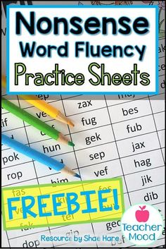 These practice pages are great for RTI, progress monitoring, reading groups, and more! Reading Fluency Games, Fluency Activities, Fluency Practice, Reading Groups, The Words, Nonsense Words, Progress Monitoring, Kindergarten Lesson Plans, Rhyming Words