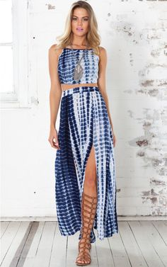 Groove Time two piece set in blue print | SHOWPO Fashion Online Shopping