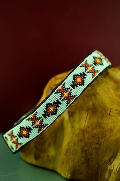 Navajo 20 Inch Multi-Colored Beaded Medicine Eye and Prayer Feather Nylon Dog Collar by Amber Toledo
