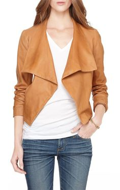51a63e8692bd Kanya L Draped Leather Jacket Tan Leather Jackets