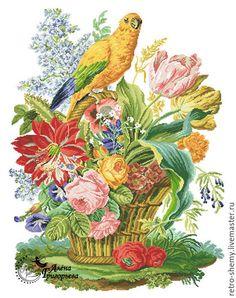 Купить или заказать Схема вышивки 'Попугай на цветочной корзине' в интернет-магазине на Ярмарке Мастеров. Авторская реконструкция старинной схемы для вышивания крестом из книги Raffaella Serena 'Vienna Embroidery'. К схеме прилагается ключ в цветовой палитре ниток DMC, а также возможные размеры готовой вышивки на 14, 16, 18 и 25 канве. Схема в электронном виде, в формате PDF. Можно заказать цветной или черно-белый вариант схемы по вашему желанию, или оба варианта.