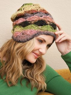 Amelia Hat featured in Fashions to Flaunt Crocheted With Noro Yarns by Jenny King. Go here to order: http://www.anniescatalog.com/detail.html?prod_id=91993