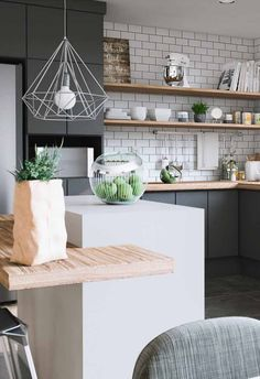 Black gray kitchen, subway tiles, Scandi kitchen Kitchen Decoração De Cozinha: 60 Modelos Com Fotos Para Você Ver Agora Cosy Kitchen, Danish Kitchen, Home Decor Kitchen, Kitchen Interior, New Kitchen, Nordic Kitchen, Decorating Kitchen, Decorating Ideas, Decor Ideas