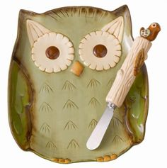 Owl Serving Plate with Spreader