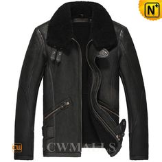 CWMALLS Black Sheepskin Bomber Jacket CW857191 Classic sheepskin bomber jacket crafted from imported natural sheepskin with lamb fur shearling material. Fashion Black b3 jacket featuring with double buckled leather straps details at collar, double buckled tabs at bottom and front zip closure. www.cwmalls.com PayPal Available (Price: $1557.89) Email:sales@cwmalls.com