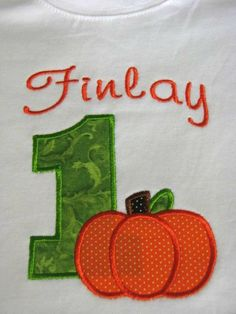 First Birthday Number and Pumpkin shirt for girls or boys great for Halloween Thanksgiving or Fall. SHORT or LONG SLEEVES
