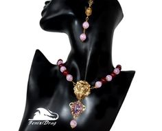 "Set jewelry: necklace (women's choker), a set of two bracelets and earrings ""Rikle"" golden lion, red jade, sugar quartz http://www.livemaster.com/item/21704585-jewelry-necklace-women-039-s-choker-bracelet-and-two-earrings http://fdrag.ru/"