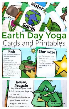 Earth Day Yoga Cards and Printables are the movement activity to add to your lesson plans! These poses will get kids to start thinking about the Earth, water and recycling! Great for preschool, kindergarten and up! Preschool Lessons, Lessons For Kids, Preschool Kindergarten, Preschool Activities, Music Activities, Infant Activities, Gross Motor Activities, Movement Activities, Physical Activities