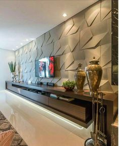 TV room with a wonderful panel, all clad in The rack with unique design … – Home Decor&Remodel Tv Cabinet Design, Tv Wall Design, House Design, Design 3d, Home Interior Design, Interior Decorating, Living Room Theaters, Living Room Tv Unit Designs, Tv Wall Decor
