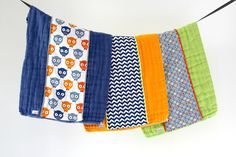 Baby Burp Cloth Gift Set of 3, Colorfol Owls and Dots by owesley on Etsy