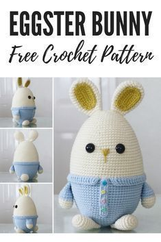 Crochet this cute egg-shaped amigurumi Easter Bunny for your little one to hug! The free pattern is available on the blog.