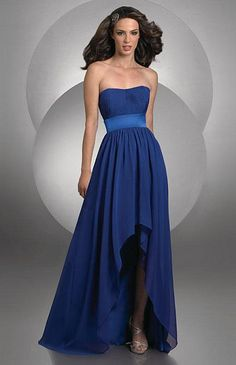 Follow the newest high low fashion trend in your wedding with the Bari Jay High Low Chiffon Bridesmaid Dress, style 402. Find this and other trendy bridesmaids styles at frenchnovelty.com