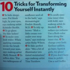 Some great beauty tips to follow. Give them a try! ^AN