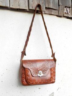 Vintage Hand Tooled braunem Leder Handtasche Tasche von VindicoShop