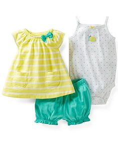 Carter's Baby Girls' 3-Piece Shirt, Bodysuit & Shorts Set