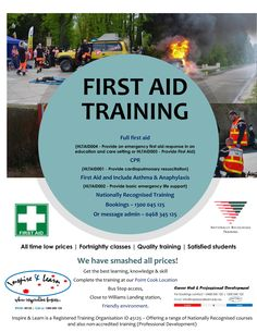 Take charge of your new years training and book in for First Aid course - starting Feb 2019 Every Saturday 9 am starts at out Point Cook Office 1300 045 125 Bookings info Train Booking, First Aid Cpr, Cardiopulmonary Resuscitation, First Aid Course, Emergency First Aid, Aged Care, Preschool Education, Education And Training, Asthma