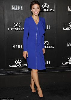 Maggie Gyllenhaal's dress at the Lexus Design Disrupted event for #NYFW featured a frill shoulder design and full length zip http://dailym.ai/1vWVZ0S