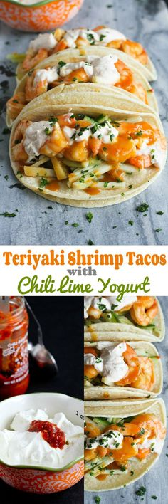 Teriyaki Shrimp Tacos with Chili Lime Yogurt…The flavors in these tacos are absolutely amazing! 284 calories and 8 Weight Watcher SmartPoints