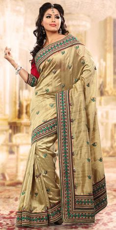 $66.36 Brown Banarasi Silk Embroidered Saree 24310