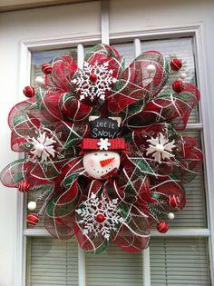 Let It Snow Christmas Mesh Wreath by KKsHandmadeWreaths on Etsy, $35.00