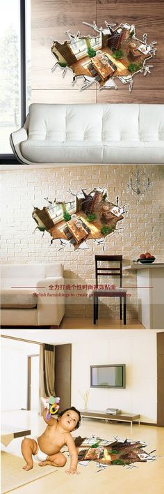 Creative Home Decor 3D Floor Stickers Fake Room Pattern For Living Mural Art Wall Decals Wallpaper 6090 CM