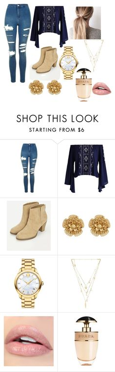 """Untitled #344"" by emilymarie4171 ❤ liked on Polyvore featuring Topshop, Chicwish, JustFab, Miriam Haskell, Movado, Ettika and Prada"