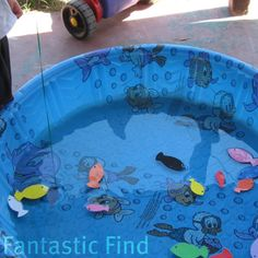 Fishing game. Cut out fish shapes from foam sheets, and add magnet or metal washers from hardware. Make pool w stick or bamboo pole from craft store.