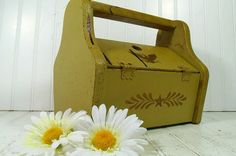 Retro Wooden Olive Green Artisan Carry All  by DivineOrders, $35.00