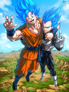 Vegeta and Goku SSJ Gods