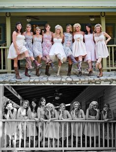 I like the bottom photo, would like to have this with the girls and the guys seperately and together, the deck at the place where we are getting married would be perfect!
