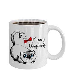 Meowy Christmas Mug  Cute big eyes Cat  Taza de gato
