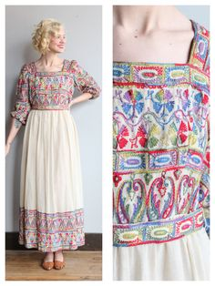 1960s Dress // Embroidered Maxi Dress // vintage 60s Saks 5th Ave dress