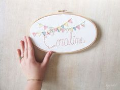 Pastel Kids Name Sign Embroidery Hoop Nursery Art with Bunting in Cotton Candy
