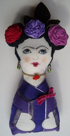 Frida Kahlo goes Geisha padded doll with hand by RococoBarocco