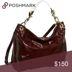 "Rebecca Minkoff Convertible Hobo Bag in Wine Rebecca Minkoff leather hobo with golden hardware. Removable flat top handle, 7"" drop. Removable, adjustable shoulder strap, 19"" drop. Recessed zip top closure. Rivet details and plated logo at center. Interior, one zip and two slip pockets; one card slot. 13""H x 15.5""W x 2.8""D; weighs 2 lb. ""Luscious"" is imported Rebecca Minkoff Bags Hobos"