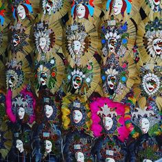 Numerous colourful #masks at the #masskara festival of #bacolod. This tradition was started after the decline of the #sugar cane #business, to encourage #tourism as a new source of income for the city. It is now known as the #cityofsmiles