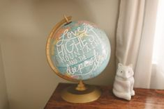 Great nursery DIY project: Vintage Globe hand painted with a lovely quote!