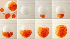 Beautiful Balls Diy Paper Lanterns With White And Otange Combine Color Amazing Creative Diy Paper Lanterns Light DIY Inspiration, Decoration, Home Accessories paper lanterns diy. paper lanterns to release. Diy And Crafts Sewing, Diy Home Crafts, Decor Crafts, Tissue Paper Lanterns, Paper Lamps, Hanging Lanterns, Diy Hanging, Craft Tutorials, Diy Projects