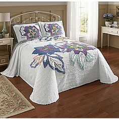 Jacobean Floral Chenille Bedspread and Sham