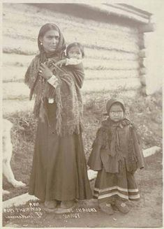 Athapascan woman and children, Yukon River area, Alaska, 1908 :: American Indians of the Pacific Northwest -- Image Portion